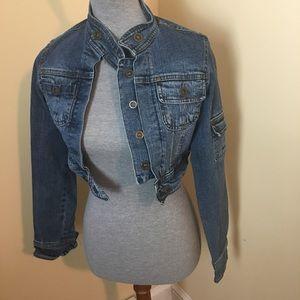 Miss LiLi Stretch Denim Jacket Cropped Size = Med